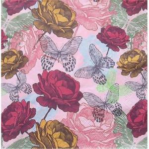Maki ポーランド ペーパーナプキン Hand-drawing Roses バラ売り2枚1セット SLOG-032701 デコパージュ ドリパージュ|ccpopo