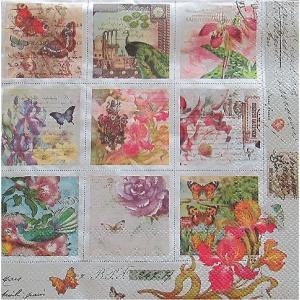 Maki ポーランド ペーパーナプキン Lunch napkins Vintage Style Stamps バラ売り2枚1セット SLOG-034401