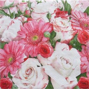 Maki ポーランド ペーパーナプキン Lunch napkins  Gerberas & white Roses ガーベラ&白バラ   バラ売り2枚1セット SLOG-036301 ccpopo