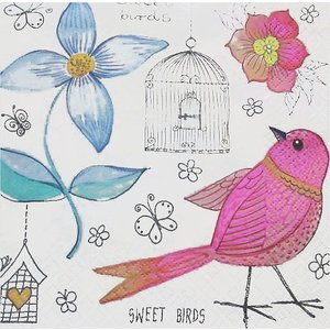 Maki ポーランド ペーパーナプキン Lunch napkins Sweet Birds バラ売り2枚1セット SLOG-037001