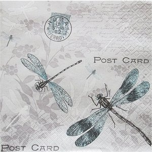 Maki ポーランド ペーパーナプキン トンボ柄のポストカード Vintage Dragonflies バラ売り2枚1セット SLOG-037401 デコパージュ ccpopo