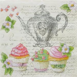 Maki  ペーパーナプキン カップケーキとティーポット Retro Cupcakes and Teapot バラ売り2枚1セット SLOG-041201 デコパージュ ccpopo