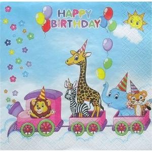 Maki ポーランド ペーパーナプキン お誕生日列車 Happy Birthday train バラ売り2枚1セット SLOG-041901 デコパージュ ドリパージュ|ccpopo
