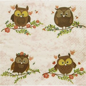 Maki ポーランド ペーパーナプキン 小枝の上にとまる茶色のフクロウ Brown Owls on Twigs バラ売り2枚1セット SLOG-042701 デコパージュ ドリパージュ|ccpopo