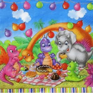 Maki ポーランド ペーパーナプキン Lunch napkins 恐竜達のパーティー Dinosaur Picnic Party バラ売り2枚1セット SLOG-043401|ccpopo