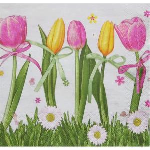Maki ポーランド ペーパーナプキン Pink & Yellow Tulips バラ売り2枚1セット SLWI-004501 デコパージュ ドリパージュ