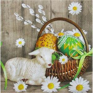 Maki ポーランド ペーパーナプキン Lunch napkins 子羊とイースターバスケット Lamb next Easter Basket バラ売り2枚1セット SLWL-008601
