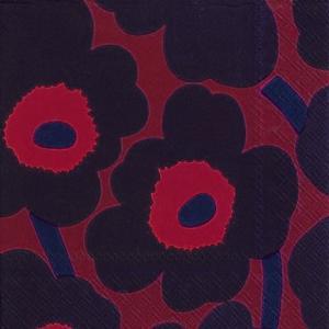 1枚バラ売りペーパーナプキンマリメッコ Marimekko ウニッコ UNIKKO dark red 北欧 L-552611 ドリパージュ デコパージュ|ccpopo