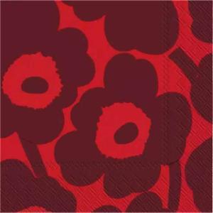 1枚バラ売りペーパーナプキン マリメッコ Marimekko ウニッコ レッド 赤x赤 UNIKKO red red 33x33cm ランチサイズ 北欧 552619 ドリパージュ デコパージュ|ccpopo