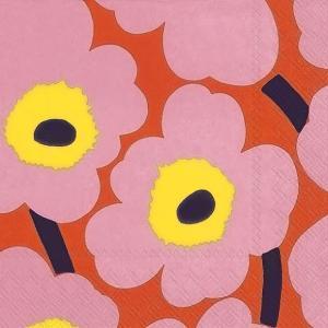 1枚バラ売りペーパーナプキンマリメッコ Marimekko ウニッコ UNIKKO rose orange 北欧 552657 ドリパージュ デコパージュ|ccpopo