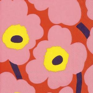 1枚バラ売り25cmペーパーナプキン マリメッコ Marimekko Unikko rose orange ウニッコ ローズオレンジ 北欧 紙コースター デコパージュ ドリパージュ 552657|ccpopo