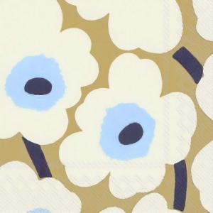 1枚バラ売り25cmペーパーナプキン マリメッコ Marimekko UNIKKO cream gold ウニッコ クリームゴールド 北欧 紙コースター デコパージュ ドリパージュ 552669|ccpopo