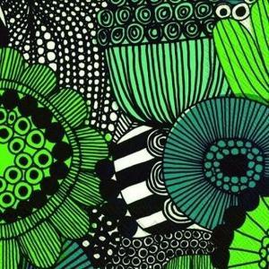1枚バラ売り25cmペーパーナプキン マリメッコ Marimekko SIIRTOLAPUUTARHA green 北欧 紙コースター デコパージュ ドリパージュ 553900|ccpopo