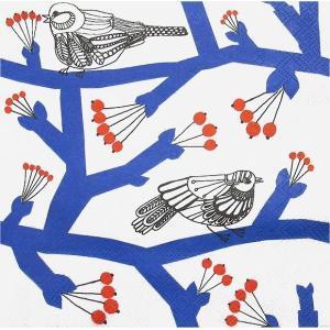 1枚バラ売り25cmペーパーナプキン マリメッコ Marimekko パッカネン PAKKANEN blue 小鳥 小枝 北欧 紙コースター デコパージュ ドリパージュ 748240|ccpopo