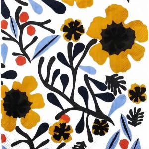 1枚バラ売り25cmペーパーナプキン 2019春夏 マリメッコ Marimekko MYKERO white yellow 北欧 紙コースター デコパージュ ドリパージュ 803797|ccpopo