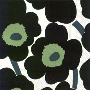 マリメッコ Marimekko ペーパーナプキン UNIKKO white black ウニッコ ホワイトブラック 2枚 北欧 L-552697 デコパージュ ドリパージュ|ccpopo