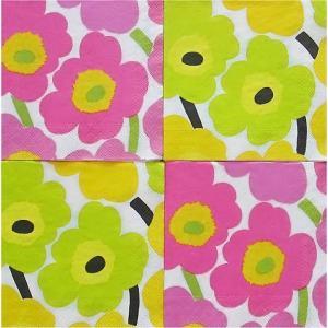 25cmペーパーナプキン4枚セット カクテルサイズ オリジナルアソート マリメッコ Marimekko UNIKKO light pink Unikko yellow 紙コースター デコパージュ|ccpopo