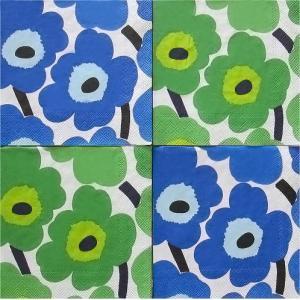 25cmペーパーナプキン4枚セット カクテルサイズ オリジナルアソート マリメッコ Marimekko UNIKKO blue UNIKKO green 紙コースター デコパージュ|ccpopo