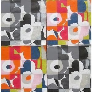 25cmペーパーナプキン4枚セット カクテルサイズ オリジナルアソート マリメッコ Marimekko MINI-RUUTU-UNIKKO orange grey 紙コースター デコパージュ ccpopo