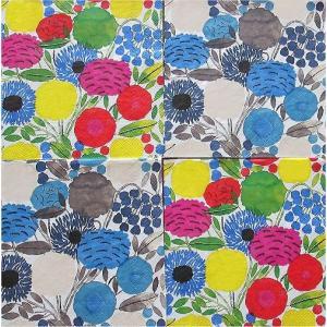 25cmペーパーナプキン4枚セット カクテルサイズ オリジナルアソート マリメッコ Marimekko SITRUUNAPUU blue pink 紙コースター デコパージュ|ccpopo