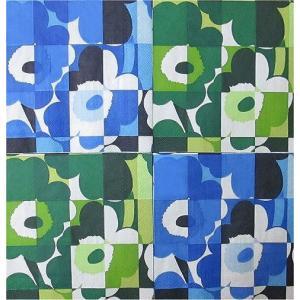 25cmペーパーナプキン4枚セット カクテルサイズ オリジナルアソート マリメッコ Marimekko MINI-RUUTU-UNIKKO blue green 紙コースター デコパージュ|ccpopo
