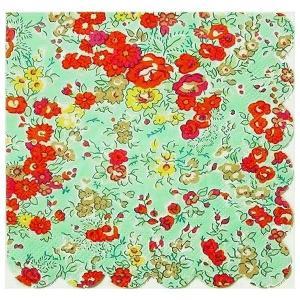 1枚バラ売り25.5cmペーパーナプキン リバティ Meri Meri Tatum ターコイズ フローラル 花 紙コースター デコパージュ ドリパージュ|ccpopo