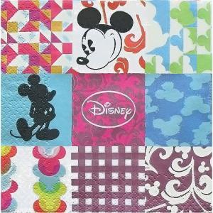 2枚1セット ミッキーマウス パッチワーク ディズニー Disney ペーパーナプキン 紙ナフキン 3枚重ね デコパージュ ドリパージュ|ccpopo