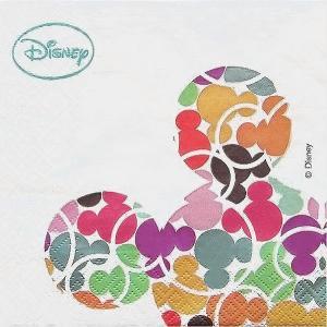 2枚1セット ディズニー Disney カラフルミッキーマウス ペーパーナプキン 紙ナフキン デコパージュ ドリパージュ|ccpopo