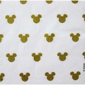 1枚バラ売りペーパーナプキン ミッキーマウス シルエット ゴールド Mickey Mouse Disney ディズニー 紙ナフキン デコパージュ ドリパージュ|ccpopo