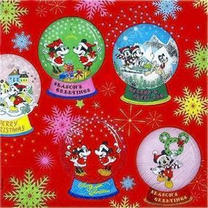 1枚バラ売りペーパーナプキン ミッキーマウス ミニーマウス Disney ディズニー スノードーム 赤 レッド 紙ナフキン デコパージュ ドリパージュ|ccpopo