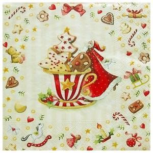 1枚バラ売りペーパーナプキン nouveau オーストリア Cookies Cup 74339 デコパージュ ドリパージュ|ccpopo