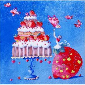 1枚バラ売りペーパーナプキン nouveau オーストリア いちごのケーキ 苺 Strawberry Cake 75137 デコパージュ ドリパージュ|ccpopo