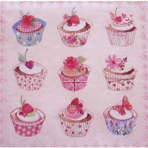 nouveau オーストリア ペーパーナプキン カップケーキ Cupcakes 74035 バラ売り2枚1セット デコパージュ|ccpopo