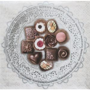 nouveau オーストリア ペーパーナプキン Chocolate Party 74907 バラ売り2枚1セット デコパージュ ドリパージュ|ccpopo