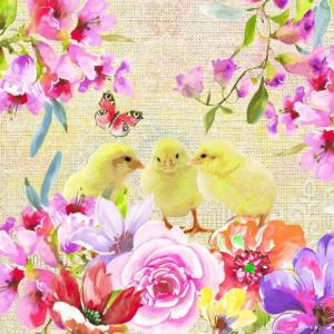 nouveau オーストリア ペーパーナプキン 春を喜ぶひよこ達 ヒヨコ Spring Chicken 75085 バラ売り2枚1セット デコパージュ ドリパージュ|ccpopo