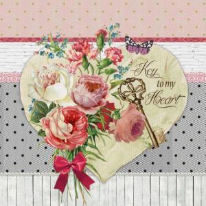 nouveau オーストリア ペーパーナプキン 心の鍵 Key to my Heart 75143 バラ売り2枚1セット デコパージュ ドリパージュ|ccpopo