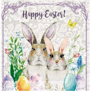 nouveau オーストリア ペーパーナプキン イースターバニー Mrs. & Mr. Easter Bunny 75215 バラ売り2枚1セット デコパージュ ドリパージュ|ccpopo