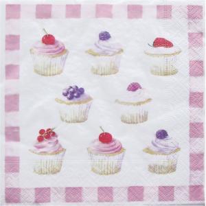 イタリア Easy Life  ペーパーナプキン Lunch napkins カップケーキ Cupcakes バラ売り2枚1セット 414-CPKS デコパージュ ドリパージュ|ccpopo