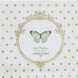 イタリア NUOVA R2S社ペーパーナプキン Dots & Butterflies バラ売り2枚1セット414-DOB デコパージュ ドリパージュ|ccpopo