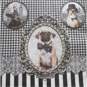 イタリア NUOVA R2S社ペーパーナプキン Barocco Dogs バラ売り2枚1セット414-DOGS デコパージュ ドリパージュ|ccpopo