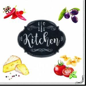 イタリア Easy Life 旧NUOVA R2S社 ペーパーナプキン Lunch napkins キッチン KITCHEN BASIC KITCHEN バラ売り2枚1セット 414-KIBK デコパージュ ドリパージュ|ccpopo
