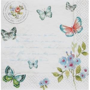 イタリア NUOVA R2S社ペーパーナプキン Spring Butterfly バラ売り2枚1セット 414-SPBU デコパージュ ドリパージュ|ccpopo