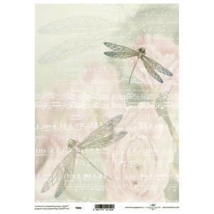 ポーランド ITD Collection スクラップブッキング用ヴェラム紙 半透明 1枚 A4 厚手 曲げ加工可能 作品販売可能 112g/m2 P0006 トンボ 楽譜 音符 音楽 薔薇 花|ccpopo