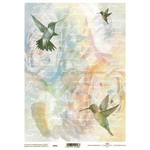 ポーランド ITD Collection スクラップブッキング用ヴェラム紙 半透明 1枚 A4 厚手 曲げ加工可能 作品販売可能 112g/m2 P0010 幸運を運ぶ鳥 ハチドリ|ccpopo
