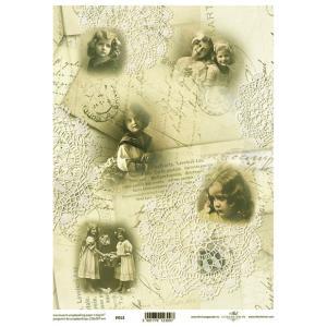 ポーランド ITD Collection スクラップブッキング用ヴェラム紙 半透明 1枚 A4 厚手 曲げ加工可能 作品販売可能 112g/m2 P0013 女の子 アンティーク 写真|ccpopo