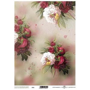 ポーランド ITD Collection スクラップブッキング用ヴェラム紙 半透明 1枚 A4 厚手 曲げ加工可能 作品販売可能 112g/m2 P0018 美しい牡丹の花|ccpopo