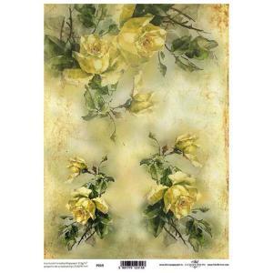 ポーランド ITD Collection スクラップブッキング用ヴェラム紙 半透明 1枚 A4 厚手 曲げ加工可能 作品販売可能 112g/m2 P0019 黄色い薔薇の花 バラ|ccpopo