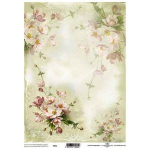 ポーランド ITD Collection スクラップブッキング用ヴェラム紙 半透明 1枚 A4 厚手 曲げ加工可能 作品販売可能 112g/m2 P0022 淡いピンクの花束|ccpopo