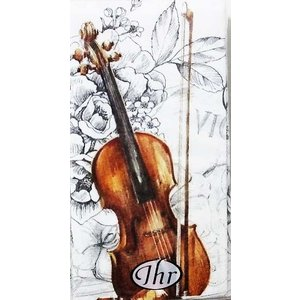 IHR ドイツ ポケットペーパーナプキン 紙ナフキン 紙ハンカチ バイオリン 音楽 花 フラワー BELLA MUSICA 21cm角 1パック10枚入り 新品未開封 804900 ccpopo