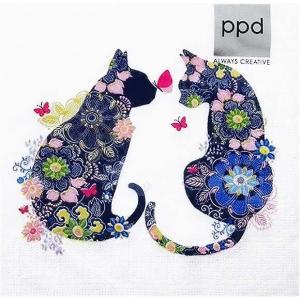 新品未開封1パック20枚 33cm PPD ドイツ ペーパーナプキン フローラルキャット 猫 Floral Cats 133-2809 デコパージュ ドリパージュ|ccpopo